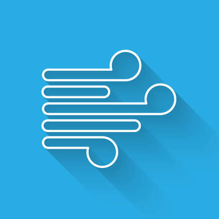 White line Wind icon isolated with long shadow. Windy weather. Vector Illustration Vettoriali
