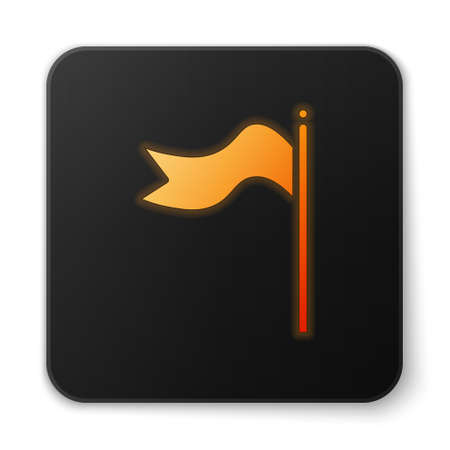 Orange glowing neon Meteorology windsock wind vane icon isolated on white background. Windsock indicate the direction and strength of the wind. Black square button. Vector Illustration