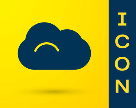 Blue Cloud icon isolated on yellow background. Vector Illustration