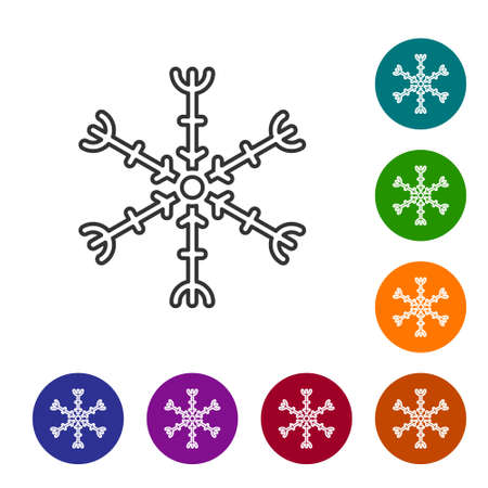 Black line Snowflake icon isolated on white background. Set icons in color circle buttons. Vector Illustration Vectores