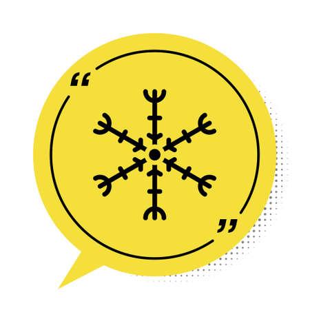 Black Snowflake icon isolated on white background. Yellow speech bubble symbol. Vector Illustration