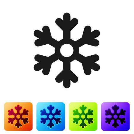Black Snowflake icon isolated on white background. Set icons in color square buttons. Vector Illustration
