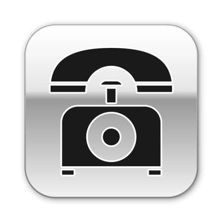Black Telephone icon isolated on white background. Landline phone. Silver square button. Vector Illustration Vector Illustration