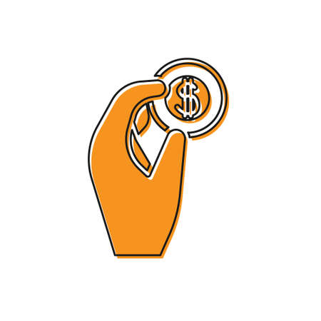 Orange Hand holding coin money icon isolated on white background. Dollar or USD symbol. Cash Banking currency sign. Vector Illustration Illusztráció