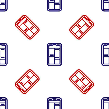 Blue and red Online shopping on mobile phone icon isolated seamless pattern on white background. Internet shop, mobile store app and payments billing. Vector Illustration