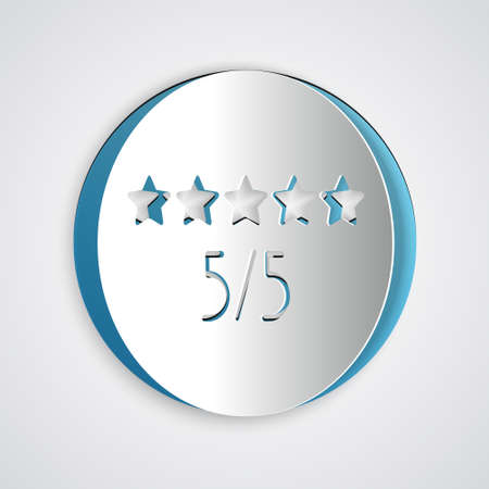 Paper cut Consumer or customer product rating icon isolated on grey background. Paper art style. Vector Illustration