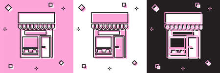 Set Shopping building or market store icon isolated on pink and white, black background. Shop construction. Vector Illustration Stock Illustratie