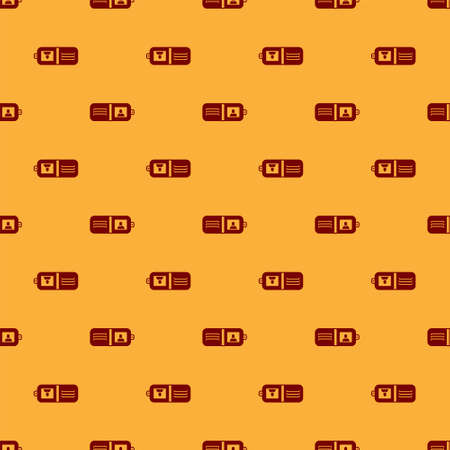 Red Wallet icon isolated seamless pattern on brown background. Purse icon. Cash savings symbol. Vector Illustration