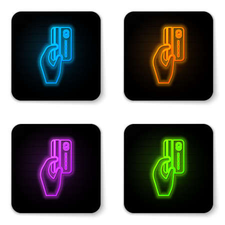 Glowing neon Human hand holding with credit card icon isolated on white background. Online payment. Pay by card. Financial operations. Black square button. Vector Illustration
