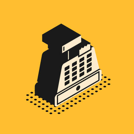 Isometric Cash register machine with a check icon isolated on yellow background. Cashier sign. Cashbox symbol. Vector Illustration