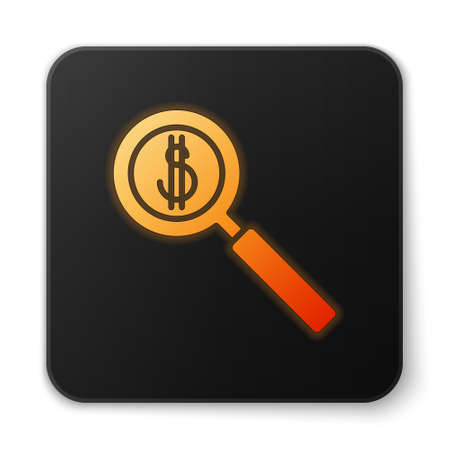 Orange glowing neon Magnifying glass and dollar symbol icon isolated on white background. Find money. Looking for money. Black square button. Vector Illustration