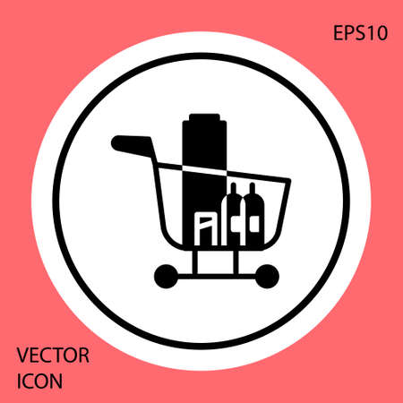 Black Shopping cart and food icon isolated on red background. Food store, supermarket. White circle button. Vector Illustration