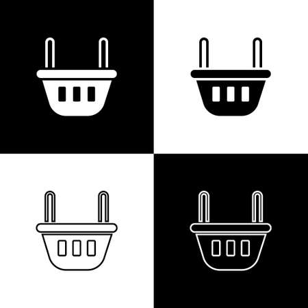 Set Shopping basket icon isolated on black and white background. Food store, supermarket. Vector Illustration Ilustracja