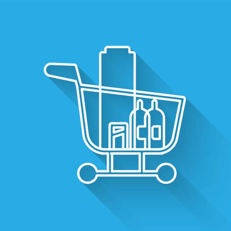 White line Shopping cart and food icon isolated with long shadow. Food store, supermarket. Vector Illustration