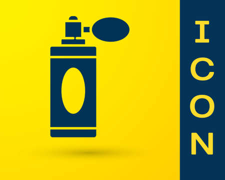 Blue Aftershave bottle with atomizer icon isolated on yellow background. Cologne spray icon. Male perfume bottle. Vector Illustration Illusztráció