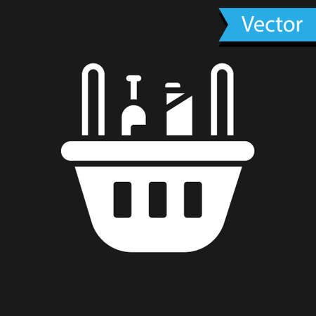 White Shopping basket and food icon isolated on black background. Food store, supermarket. Vector Illustration