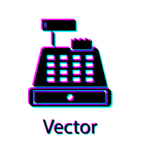 Black Cash register machine with a check icon isolated on white background. Cashier sign. Cashbox symbol. Vector Illustration