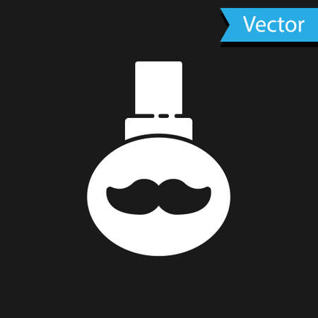 White Beard and mustaches care oil bottle icon isolated on black background. Glass bottle with pipette. Vector Illustration