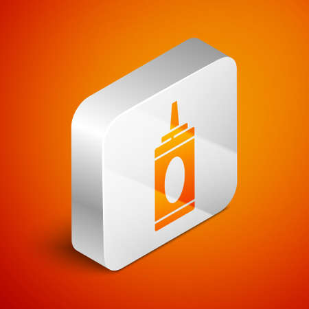 Isometric Bottle of shampoo icon isolated on orange background. Silver square button. Vector Illustration