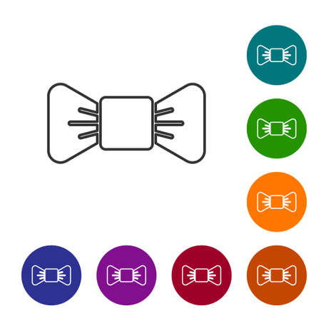 Black line Bow tie icon isolated on white background. Set icons in color circle buttons. Vector Illustration