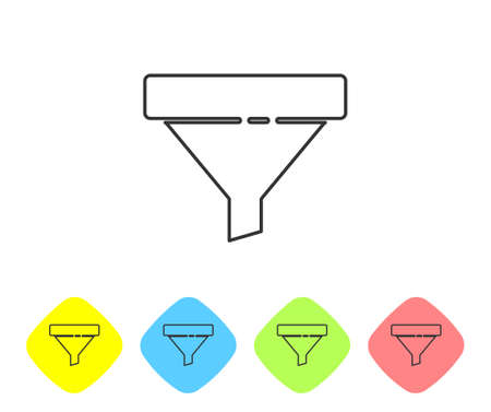 Grey line Sales funnel with arrows for marketing and startup business icon isolated on white background. Infographic template. Set icons in color rhombus buttons. Vector Illustration 矢量图像
