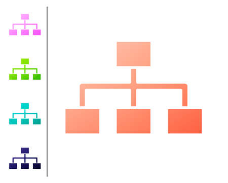 Coral Business hierarchy organogram chart infographics icon isolated on white background. Corporate organizational structure elements. Set color icons. Vector Illustration