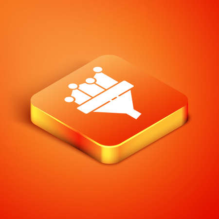 Isometric Sales funnel with chart for marketing and startup business icon isolated on orange background. Infographic template. Vector Illustration
