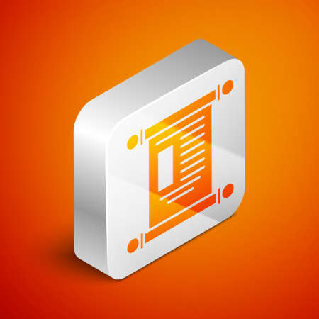 Isometric Decree, paper, parchment, scroll icon icon isolated on orange background. Chinese scroll. Silver square button. Vector Illustration