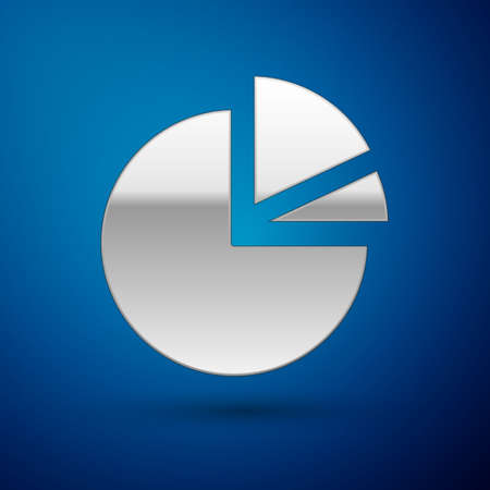 Silver Pie chart infographic icon isolated on blue background. Diagram chart sign. Vector Illustration Illusztráció