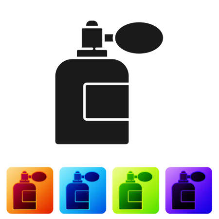 Black Aftershave bottle with atomizer icon isolated on white background. Cologne spray icon. Male perfume bottle. Set icons in color square buttons. Vector Illustration Illusztráció