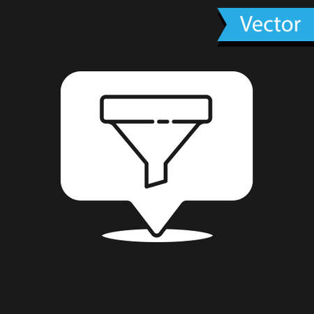 White Location with sales funnel icon isolated on black background. Infographic template. Vector Illustration 矢量图像