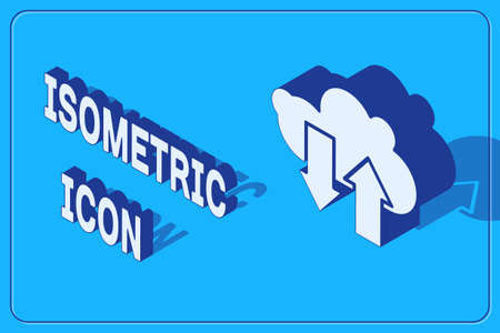 Isometric Cloud download and upload icon isolated on blue background. Vector Illustration