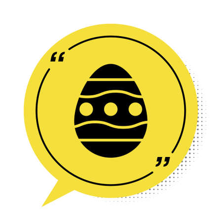 Black Easter egg icon isolated on white background. Happy Easter. Yellow speech bubble symbol. Vector Illustration