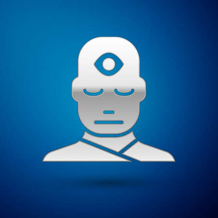 Silver Man with third eye icon isolated on blue background. The concept of meditation, vision of energy, aura. Vector Illustration Stock fotó - 152488155