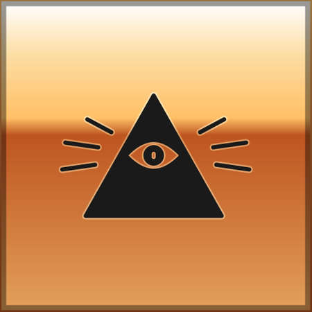 Black Masons symbol All-seeing eye of God icon isolated on gold background. The eye of Providence in the triangle. Vector Illustration