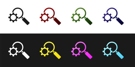 Set Magnifying glass and gear icon isolated on black and white background. Search gear tool. Business analysis symbol. Vector Illustration