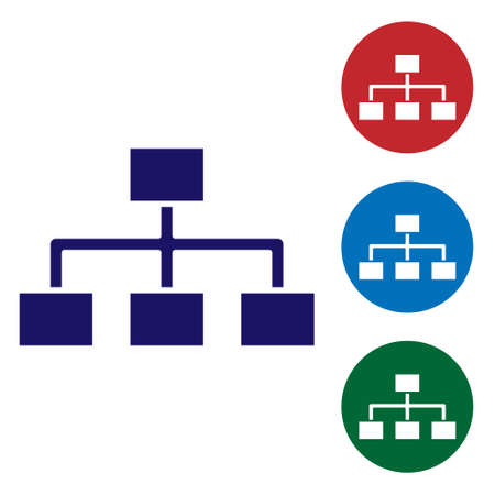 Blue Business hierarchy organogram chart infographics icon isolated on white background. Corporate organizational structure elements. Set icons in color square buttons. Vector Illustration 矢量图像