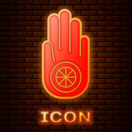 Glowing neon Symbol of Jainism or Jain Dharma icon isolated on brick wall background. Religious sign. Symbol of Ahimsa. Vector Illustration Stock fotó - 152488205
