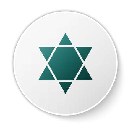Green Star of David icon isolated on white background. Jewish religion symbol. Symbol of Israel. White circle button. Vector Illustration