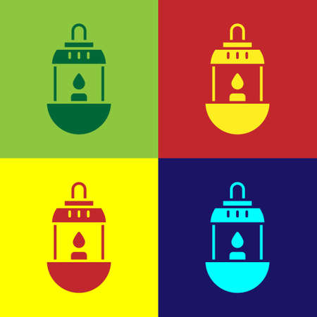 Pop art Ramadan Kareem lantern icon isolated on color background. Vector Illustration Ilustracja