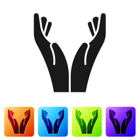 Black Hands in praying position icon isolated on white background. Prayer to god with faith and hope. Set icons in color square buttons. Vector Illustration