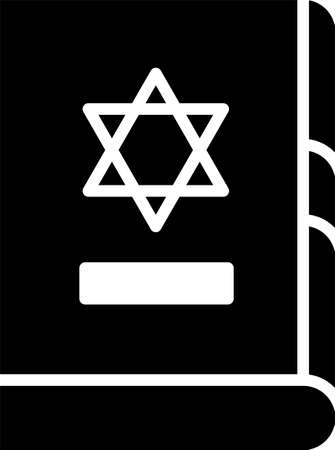 Black Jewish torah book icon isolated on white background. On the cover of the Bible is the image of the Star of David. Vector Illustration