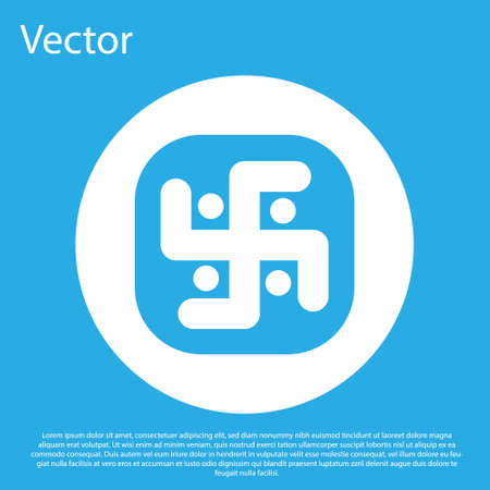 Blue Jainism icon isolated on blue background. White circle button. Vector Illustration Stock fotó - 152488263