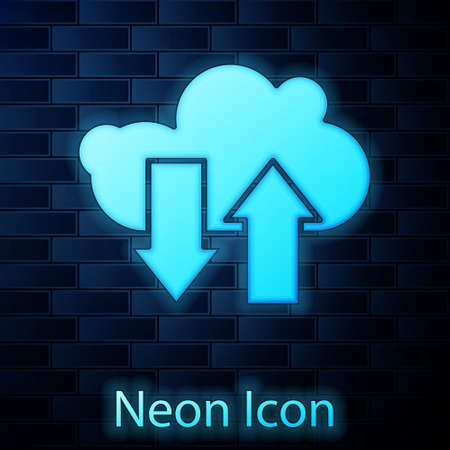 Glowing neon Cloud download and upload icon isolated on brick wall background. Vector Illustration 向量圖像