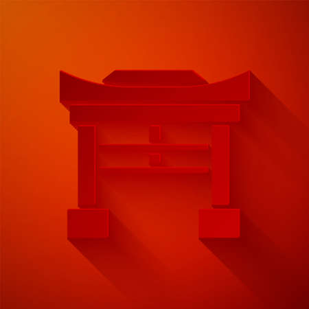 Paper cut Japan Gate icon isolated on red background. Torii gate sign. Japanese traditional classic gate symbol. Paper art style. Vector Illustration
