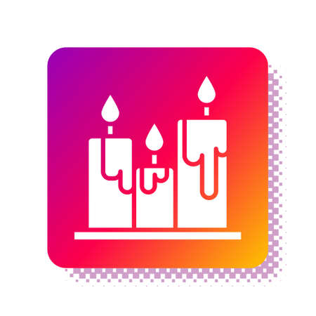 White Burning candles icon isolated on white background. Cylindrical candle stick with burning flame. Square color button. Vector Illustration Vectores