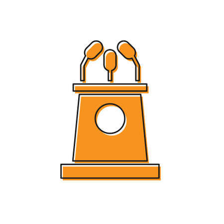 Orange Stage stand or debate podium rostrum icon isolated on white background. Conference speech tribune. Vector Illustration