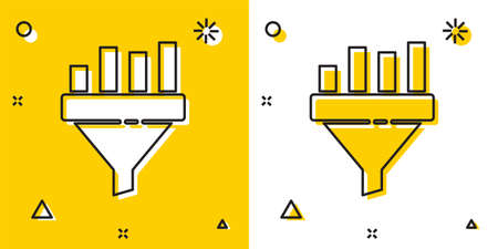 Black Sales funnel with chart for marketing and startup business icon isolated on yellow and white background. Infographic template. Random dynamic shapes. Vector Illustration