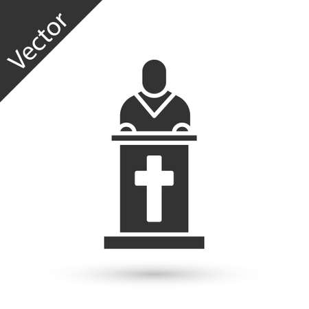 Grey Church pastor preaching icon isolated on white background. Vector Illustration