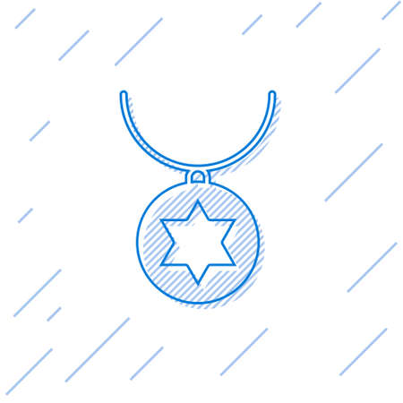 Blue line Star of David necklace on chain icon isolated on white background. Jewish religion. Symbol of Israel. Jewellery and accessory. Vector Illustration